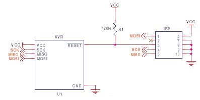 AVR ISP circuit schematic 1