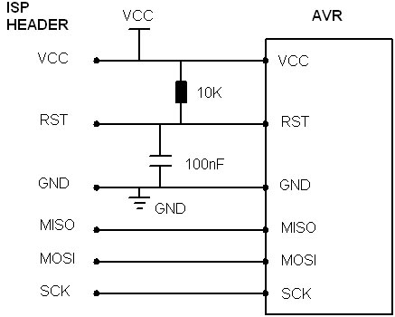 simple AVR ISP circuit schematic