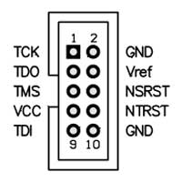 Atmel AVR JTAG Circuit Schematic 10way header