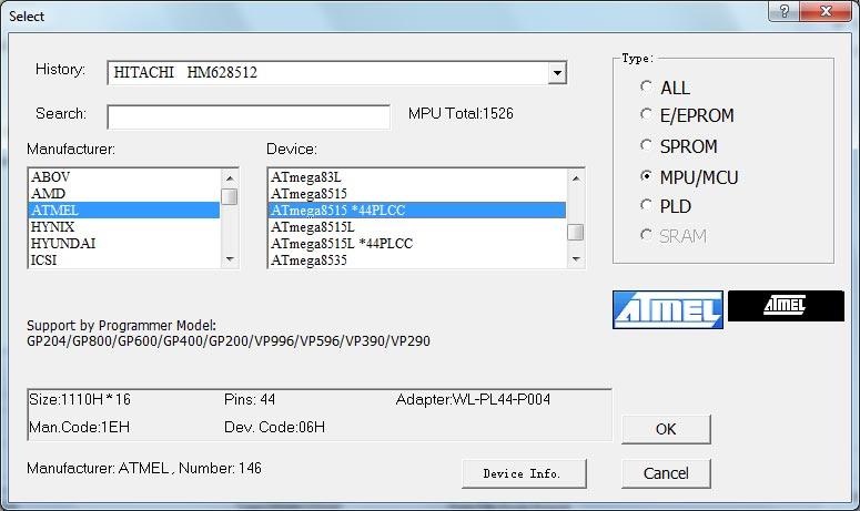 VP-290 Wellon Universal Programmer Device Selection