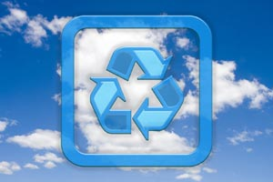 Picture of clouds with recycle